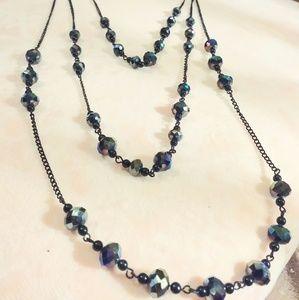 Black aurora borealis 3 strand beaded necklace